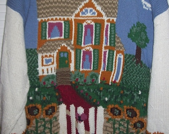 """Sweater XL, Vintage Northern Isles Hand-Knitted Pullover  """"Home Sweet Home"""" Sweater XL"""