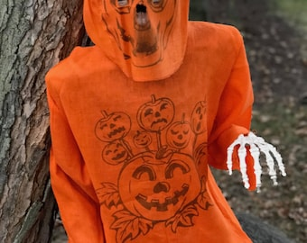 Vintage Halloween Atomic Orange Costume with Jack O Lanterns Circa 1940s with Jack O Lantern Face Mask