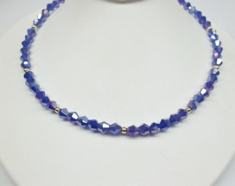 14k Gold Sapphire Necklace Crystal Saphire Necklace Dark Blue Necklace Cobalt Blue Necklace 14k Gold Filled Necklace BuyAny3+Get1 Free