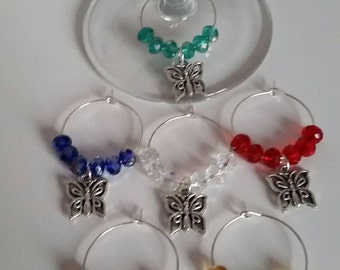 Set of 6 Wine Glass Charms made to order