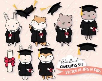Graduation Clipart Set, Woodland Animals, Vector Clip Art, Cute Bear, Fox, Bunny, Commercial Use Graphics, Kawaii, Black Cap and Gown, Grads