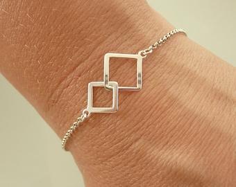 Sterling Silver Geometric Bracelet, Two Squares Bracelet, Gold Geometric Bracelet, Minimalist Bracelet, 925 Sterling Silver Jewelry