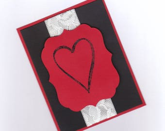 Embossed Heart Valentine Card | Love Valentine's Day Card | Heart Card