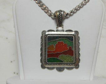 Majestic Vintage Sterling Silver Southwest Design Pendant with Sterling Silver Chain