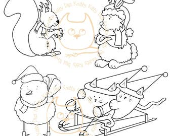 Digi Stamp Instant Download. Build a Snow Scene Quartet (Catboggan, Grumpy Bunny, Chilly Tit and Sqwirl)- Knitty Kitty Digis No.55 ABC&D