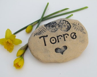 """Personalized Pet memorial stone. Outdoor burial marker. Engraved Pet grave marker. Pet loss gift. Artistically handmade ceramic brick 4x6"""""""
