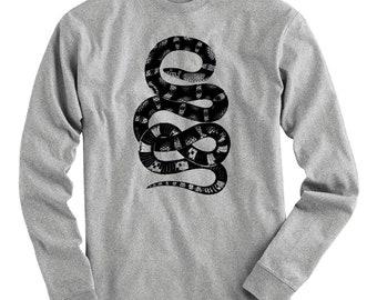 Snake Tee - Long Sleeve T-shirt - Men S M L XL 2x 3x 4x - Serpent Shirt, Reptile Shirt, Bad Ass Shirt, Vintage Shirt, Fantasy Shirt