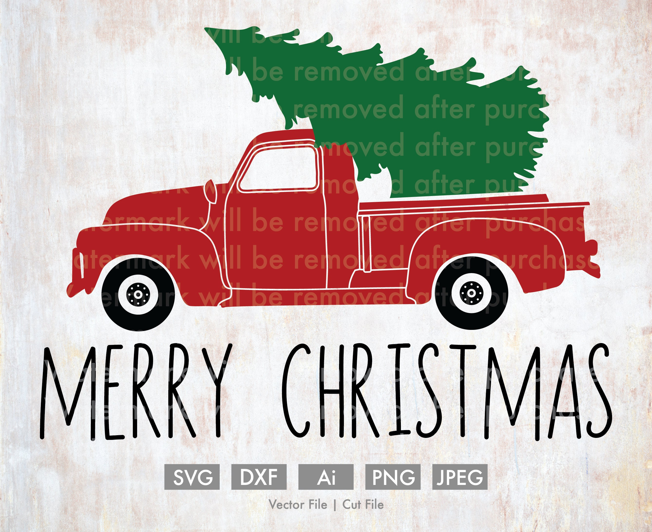 Merry Christmas Old Truck With Tree Cut File Vector