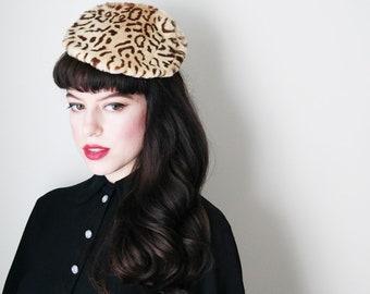 1940's faux leopard tilt hat