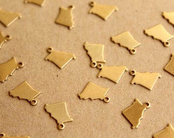 8 pc. Raw Brass Missouri State Charms / Blanks: 10mm by 11.5mm - made in USA | RB-989