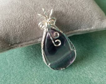Rainbow Teardrop Fluorite Cabachon Sterling Silver Wire Wrapped  Pendant