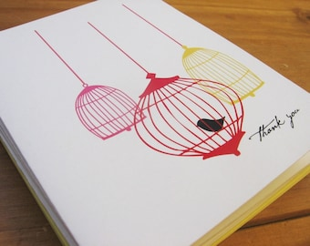 Red Birdcage Thank You Cards Plus Stickers