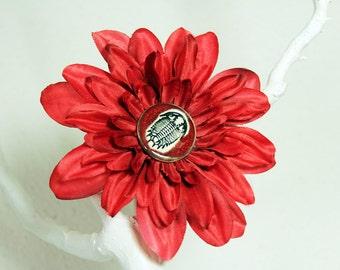 Trilobite Flower Hair Clip in Red