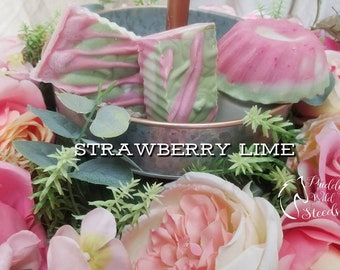 Strawberry Lime Soap/ Handmade Soap/ Shea Butter Soap