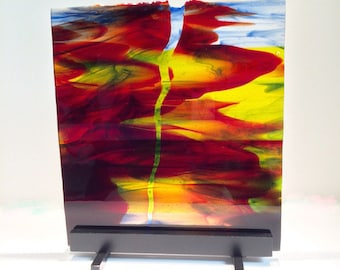 Abstract Art Glass Watercolor Surge Of Color