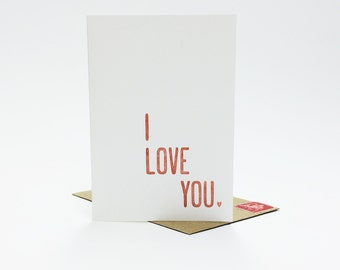 I Love You Card. Love Cards. Anniversary Card. Cards for Her. Cards for Him. Letterpress Love Cards. Letterpress Cards. Heart Card.