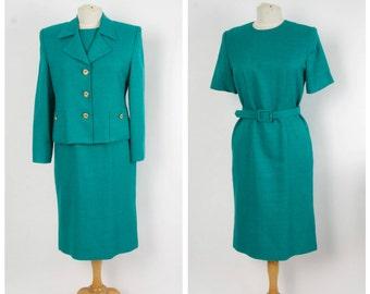 Teal Ladies Suit Fitted Short Sleeve Dress and Jacket Set 80s Vintage Ladies Suit Leslie Fay Medium