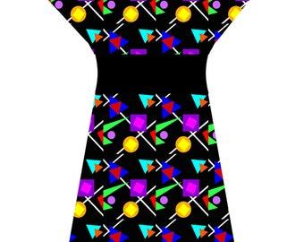 80's GEO DRESS (handmade & custom printed fabric)