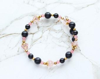 Bracelet rose féminin, Bracelet de l'or noir, fard à joues de verre rose fleur Bracelet, Bracelet de perles de verre Vintage, cadeaux fleurs fête des mères
