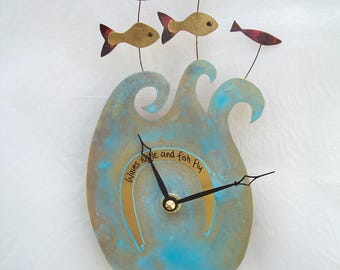 Fish and sea blue etched metal wall clock - wall art - metal art - seaside - turquoise clock