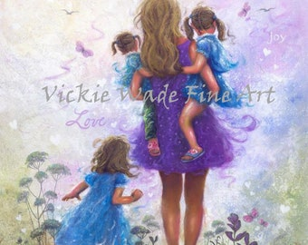 Mother and Three Daughters Love Art Print, three sisters, three girls, Mom, purple, blue, mother carrying daughters, Vickie Wade Art