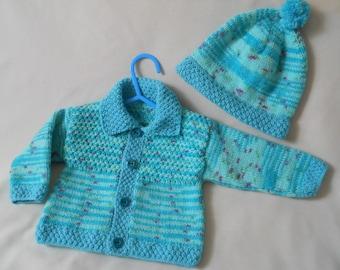Baby Coat, Hand knitted baby coat, Baby Cardigan, Baby Jacket, Coat & Hat Set, Baby Gift