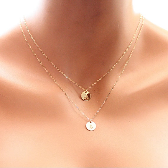Super Layering Initial Necklace Double Strand Layered Necklace CO92