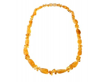 Baltic Yellow Stylized Natural Raw Amber Necklace Beads