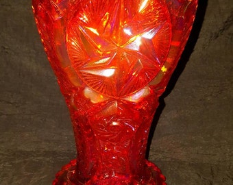 L. E. Smith Company Amberina (Red-Orange) Carnival Glass Vase