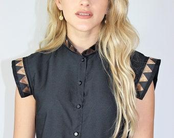 Black Shirt Dress with Gold Detail
