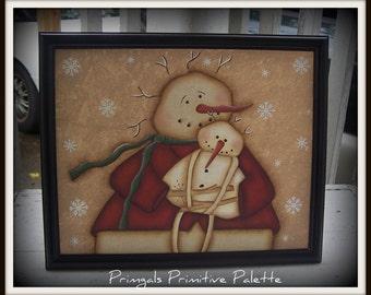 Primitive Folk Art Snowman Canvas Art Holiday Picture Home Decor Decoration