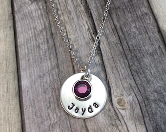 Personalized mothers necklace sterling silver hand stamped with birthstone Swarovski crystal