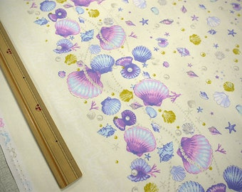 2018 Classical and Modern Japanese Fabric  / Sea Shell Oxford Fabric Cream - 50cm x 110cm
