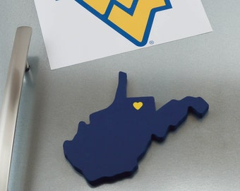 """West Virginia Mountaineers """"State Heart"""" Magnet, handcrafted wood with official team colors"""