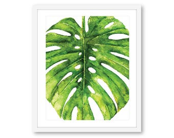 Monstera Print - Tropical Print - Leaf Wall Art - Monstera Leaf Print - Tropical Leaf Wall Art - 8x10 on 8.5x11 paper - Frame Not Included