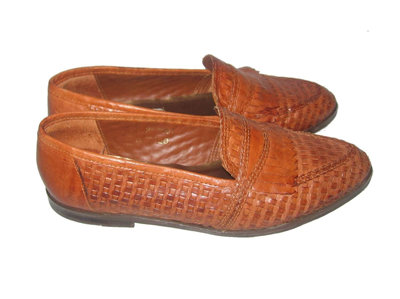BRUNO VALENTI Block Heel Brown Leather Platform Retro Style Size 10 Made In Brzl