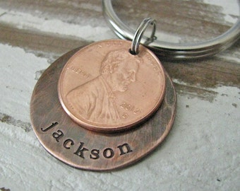 personalized penny key chain - great gift for Dad