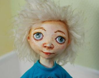 Boy By Elena Ovcharova Ooak Art Doll Sculpture Figurine Original Artist Dolls QQLA