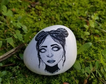 Goth Witch Painted Rock