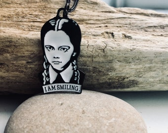 Wednesday Addams Necklace I Am Smiling // Addams Family // Goth jewelry // Don't tell me to smile