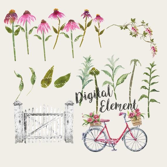 Watercolor Flower Clip-art, Pink Floral Watercolor Clip