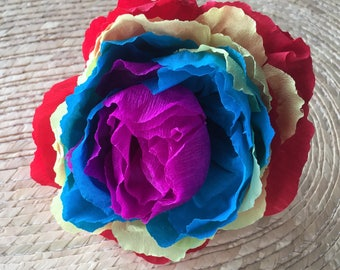 Mexican Crepe Paper Flower Hair Clip 4""