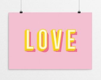 LOVE Typography - a design print // 8.5x11 or 13x19 // 5 color options // Scandinavian modern nursery