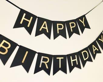 Black & Gold Happy Birthday Banner,