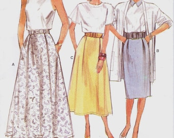 80s Womens Skirts in 3 Lengths Vogue Sewing Pattern 9850 Size 14 16 18 Hip 38 40 42 UnCut Very Easy Very Vogue Sewing Patterns