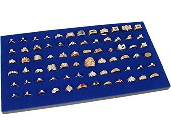 3 Ring Display Pad 72 Slot Jewelry Travel Blue foam Insert