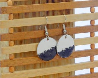 white & black small circle enamel earrings