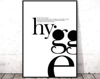 Hygge Print, Definition Wall Art, Entryway Decor, Typography Poster, Printable Gift for Home, Danish Modern, Black and White, Digital Art