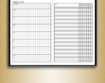 Undated WEEKLY planner, #U-WR1,L (pocket inserts, pocket tn inserts, field notes, travelers notebook insert printable)