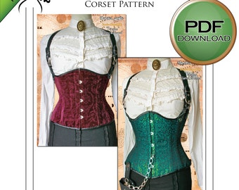 Corset Sewing Pattern, Digital Download, Excellent Fit, Corset Tutorial, PDF Pattern, Tight Lacing, Steampunk Sewing, Cosplay, Gothic, SMALL